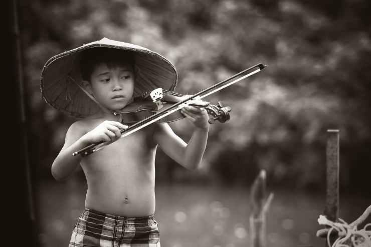 black and white blur boy child